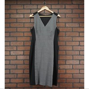 WHBM Sleeveless V-Neck Shift Career Dress Plaid